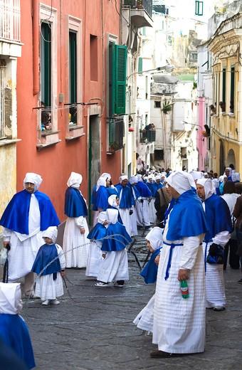 Holy Friday procession, Procida island, Campania, Italy, Europe : Stock Photo