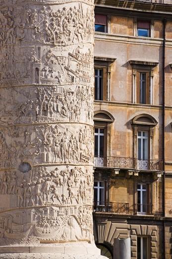 Colonna Traiana column, Rome, Lazio, Italy, Europe : Stock Photo