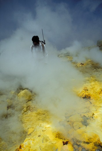 Stock Photo: 4261-48732 Researcher, CNR volcanology research, Aeolian Islands, Sicily, Italy