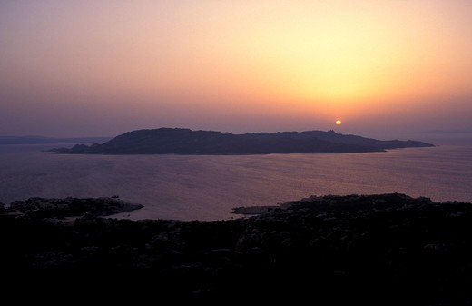 Spargi island seen from La Maddalena island, Maddalena archipelago, Sardinia, Italy : Stock Photo