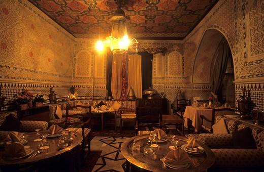 Interior of a typical restaurant, Jeddah, Saudi Arabia, Middle East : Stock Photo