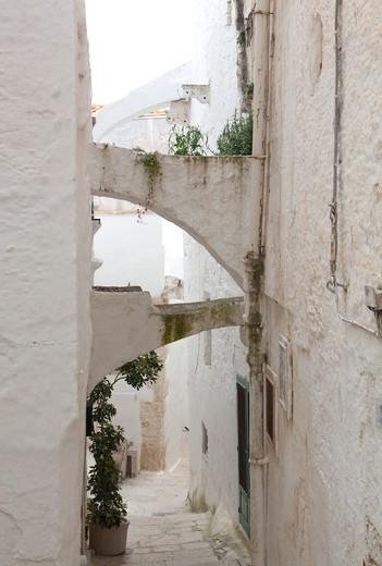 House, historic centre, Ostuni, Puglia, Italy : Stock Photo