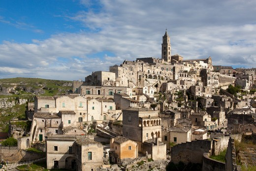 Sassi of Matera, la Civita and Sasso Barisano with the  Cathedral, Matera, Basilicata, Italy : Stock Photo