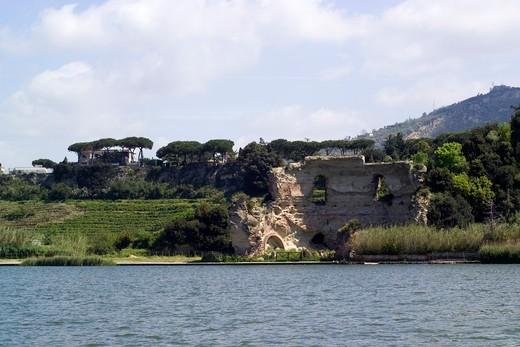 D'Averno lake and Roman ruins of Apollo temple, Campi Flegrei, Bacoli, Naples, Campania, Italy, Europe : Stock Photo