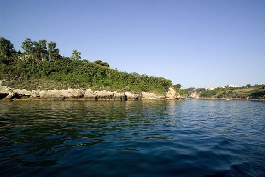 Tuffaceous coast, Bacoli, Gulf of Pozzuoli, Campi Flegrei, Campania, Italy : Stock Photo
