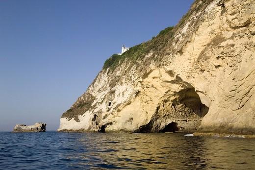 Capo Miseno, tuffaceous coast, Bacoli, Gulf of Pozzuoli, Campi Flegrei, Campania, Italy : Stock Photo