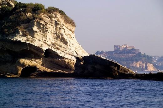 Tuffaceous coast, Bacoli, Pennata Island, Gulf of Pozzuoli, Campi Flegrei, Campania, Italy : Stock Photo