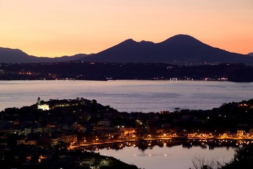 Dawn, Bacoli, Campi Flegrei, Gulf of Pozzuoli, Campania, Italy : Stock Photo