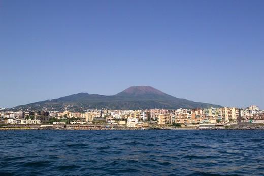 Vesuvian coast, Portici, Ercolano, Torre del Greco, Gulf of Naples, Campania, Italy : Stock Photo