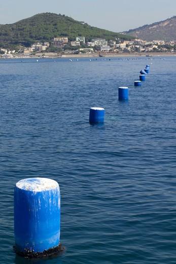 Stock Photo: 4261-6241 Mussel farming, Baia di Bacoli, Gulf of Pozzuoli, Campania, Italy
