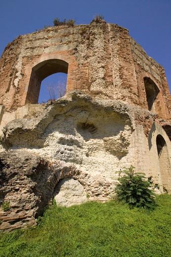 Ruins of the Roman thermae, Tempio di Mercurio, Baia, Bacoli, Gulf of Pozzuoli, Campania, Italy : Stock Photo