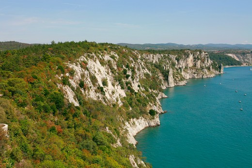 Landscape from Duino castle with Rilke path, Duino-Aurisina, Friuli Venezia Giulia, Italy : Stock Photo