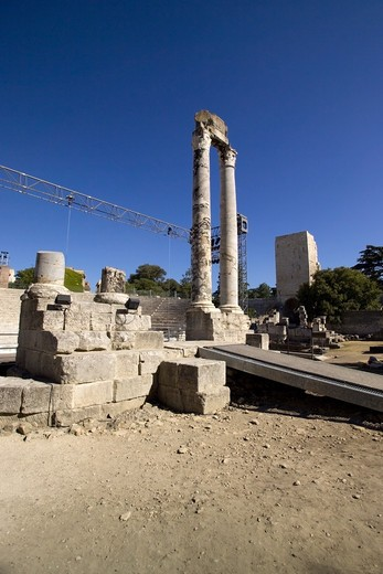 the ancient Roman Theatre, Arles, Provence, France : Stock Photo