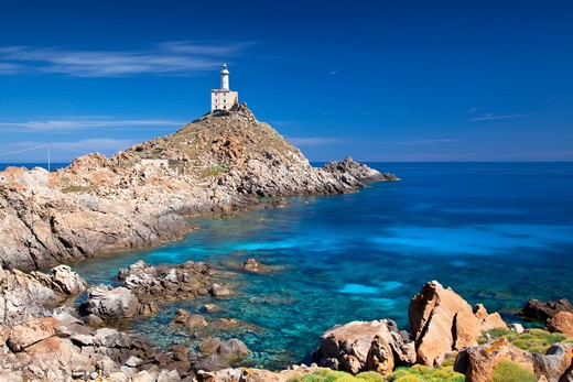 Punta Scorno lighthouse, Asinara island, Porto Torres, Sardinia, Italy, Europe : Stock Photo