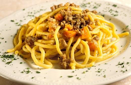 Bigoli pasta with duck meat sauce, Antica Casa della Malvasia restaurant, Vicenza, Veneto, Italy : Stock Photo
