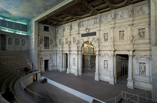 Teatro Olimpico, Andrea Palladio work of art, Vicenza, Veneto, Italy : Stock Photo