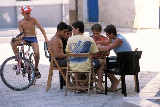 Playing cards, Marettimo island, Egadi islands, Sicily, Italy : Stock Photo