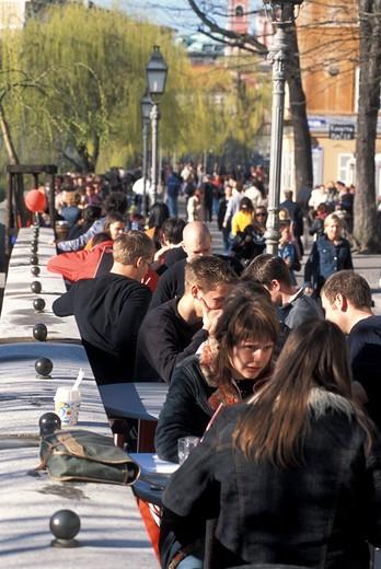 Café, Cankarjevo nabrezje street, Ljubljana, Slovenia, Europe : Stock Photo
