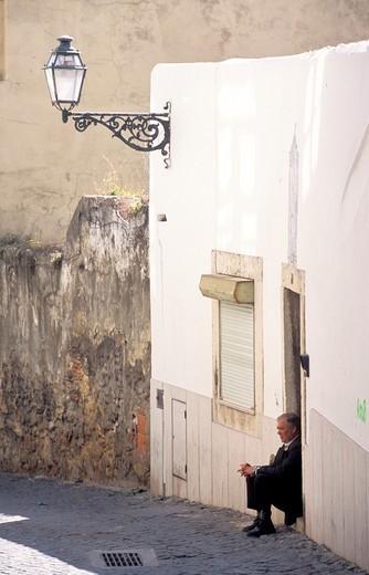 Stock Photo: 4261-68745 Lane, Alfama quarter, Lisbona, Portugal, Europe