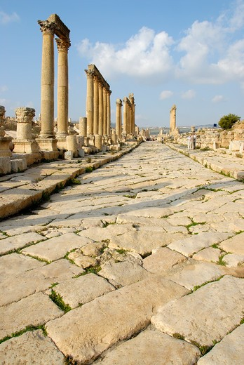 Stock Photo: 4261-6925 Cardo Maximus ruins, Jerash, Jordan, Middle East