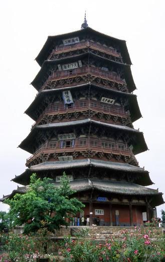 Wooden pagoda, Yintxian village, China, Asia : Stock Photo