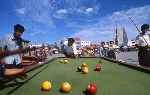 Stock Photo: 4261-69448 Outdoor billiard players, Datong, China, Asia