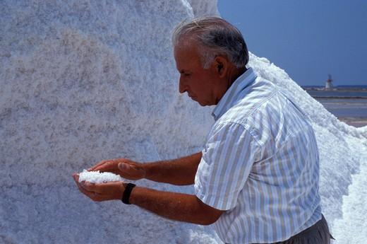 Mozia's saltworks, Ancient Phoenician colony, Marsala, Sicily, Italy  : Stock Photo