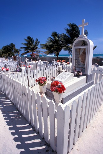 Cemetery, San Pedro, Ambergris Caye, Belize, Central America : Stock Photo