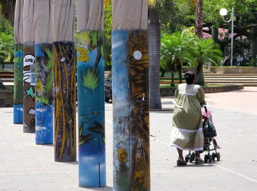 Stock Photo: 4261-73641 Woman's mission dress, Place des Cocotiers, down town, Nouméa, New Caledonia