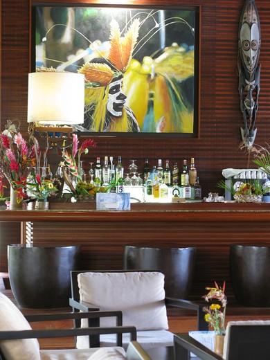 Bar, Tiéti Tera Beach Resort, Poindimié, New Caledonia : Stock Photo
