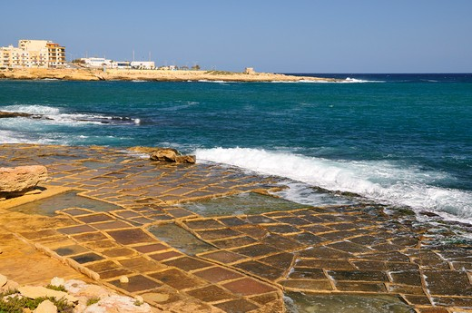 Salt pad, Marsaskala, Malta, Europe : Stock Photo