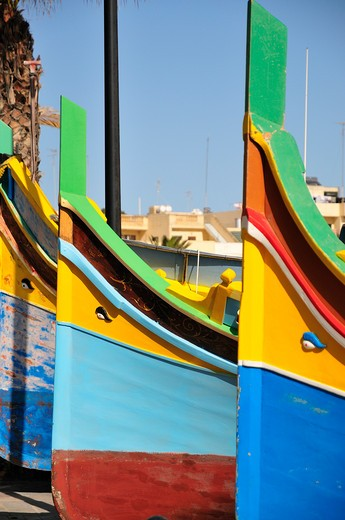 Luzzu traditional type of fishing boat, Marsaxlokk, Malta, Europe : Stock Photo