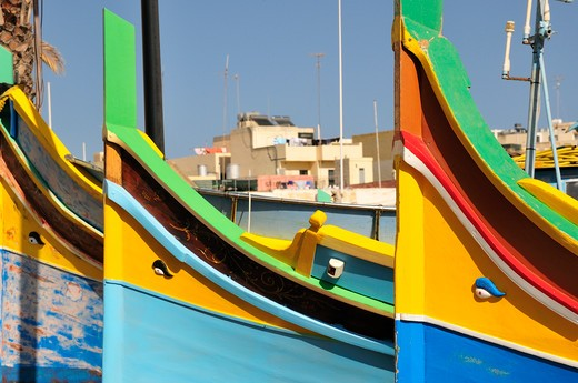 Stock Photo: 4261-74127 Luzzu traditional type of fishing boat, Marsaxlokk, Malta, Europe