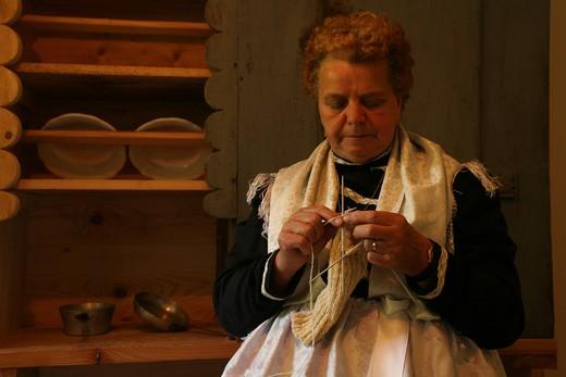 Wool spinning, Filzerhof house-museum, Valle dei Mocheni, Trentino Alto Adige, Italy : Stock Photo