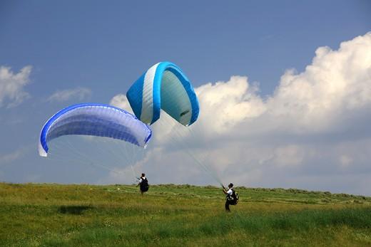 Stock Photo: 4261-74777 Hang gliding, Piana delle Viote, Bondone mountain, Trentino Alto Adige, Italy