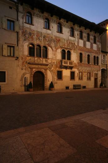 Foreshortening, Alberti and Quetta palace, Belenzani street, Trento, Trentino Alto Adige, Italy : Stock Photo