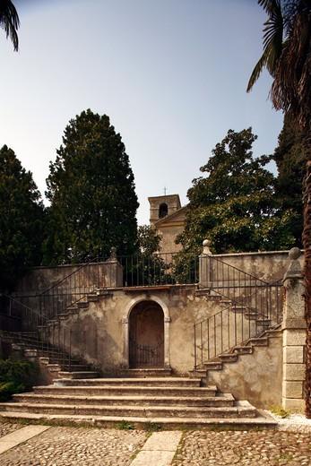 Stock Photo: 4261-75495 Stone stairways, San Giorgio hermitage, Bardolino, Veneto, Italy