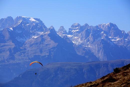 Stock Photo: 4261-75666 Hang gliding, Cima Tosa peak, Brenta mountain chain, Trentino Alto Adige, Italy