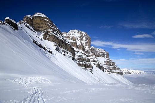 Pietra Grande peak, Dolomiti di Brenta chain near Madonna di Campiglio, Trentino Alto Adige, Italy : Stock Photo