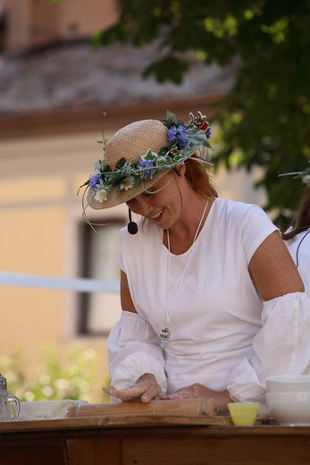 Stock Photo: 4261-76518 Preparation of strudel, Agricolture feast, Isera, Trentino, Italy