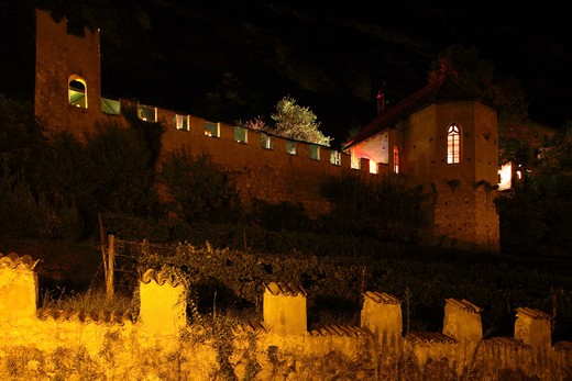 Foreshortening of the castle, Calici di Stelle feast, Mezzolombardo, Trentino, Italy : Stock Photo
