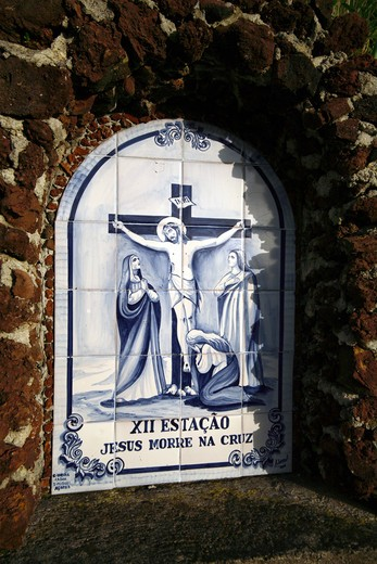 Azulejo with Via Crucis, Ribeira Cha, Sao Miguel Island, Azores, Portugal, Europe : Stock Photo
