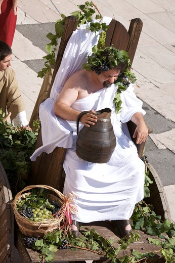 Bacco, historic recalling Uva e Dintorni,  Sabbionara d'Avio, Bassa Vallagarina, Trentino Alto Adige, Italy, Europe : Stock Photo