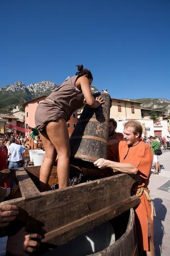 Stock Photo: 4261-77115 Historic recalling Uva e Dintorni,  Sabbionara d'Avio, Bassa Vallagarina, Trentino Alto Adige, Italy, Europe