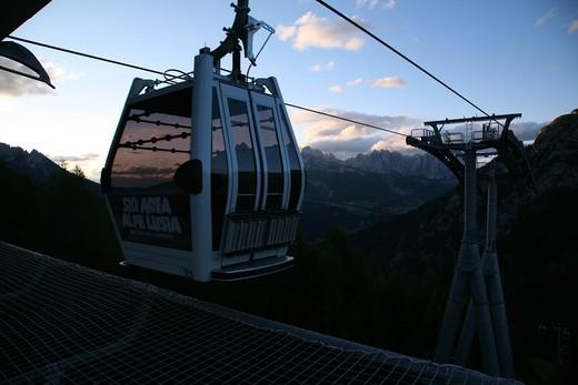 Lusia cableway, in the background the Catinaccio mountain, Fassa Valley, Trentino Alto Adige, Italy, Europe : Stock Photo