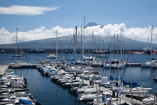 Horta harbour and view of Pico island, Fajal, Azores Island, Portugal, Europe : Stock Photo