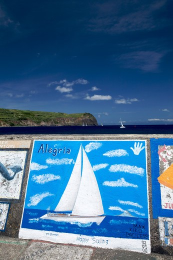 Murals in port of Horta, Fajal, Azores Island, Portugal, Europe : Stock Photo