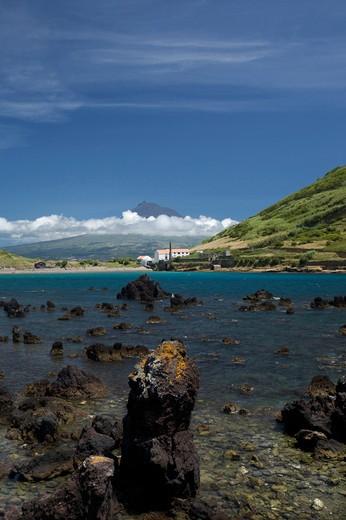 Baja do Porto Pim and view of Pico island, Fajal, Azores Island, Portugal, Europe : Stock Photo