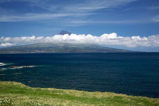 View of Pico island, Fajal, Azores Island, Portugal, Europe : Stock Photo