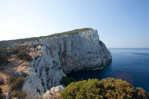 Stock Photo: 4261-78553 Capo Caccia, Alghero, Sardinia, Italy. Panoramic views across the sea and the access to the Neptune's caves